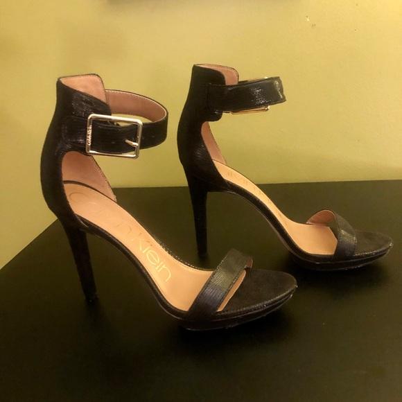 Calvin Klein black leather alligator print heels